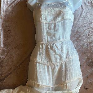 VNTG Boho Cream Tiered Satin Patchwork Dress